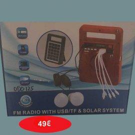 Ηλιακός φορτιστής-ψηφιακό Ραδιόφωνο-Bluetooth σύνδεση-Υποδοχές USB-TF CARD με 2 λάμπες LED και πολυφορτιστή κινητών-