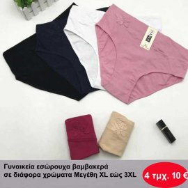 Πακέτο με 6 τεμ. γυναικεία σλιπάκια σε διάφορα χρώματα Μεγέθη L-XXXL
